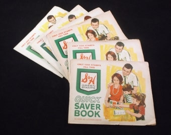 Vintage S&H Green Stamps Saving Books - Filled -Lot of Six-1200 Stamps Circa 1965