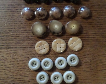 Natural Shades. Collection of Large Vintage French Buttons
