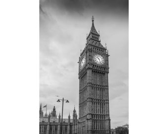 London Photography – Black and White Photography of London Featuring Big Ben, Print 16 x 20