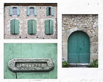Set of 3 prints for living room art or foyer decor, French country door and windows print set, wall decor rustic, sage green wall art