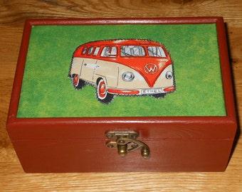 VW campervan decorated/Gift/ jewellery/Keepsake/storage box
