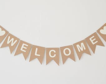 Welcome Bunting, Welcome Home Banner, Wedding Party Decoration, Room Decor,Rustic Party Decorations, Sign