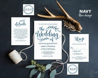 Navy Blue Wedding Invitation, Printable Wedding Invitations, Rustic Wedding Invitation, 5-Piece Suite, Editable Text, VW00