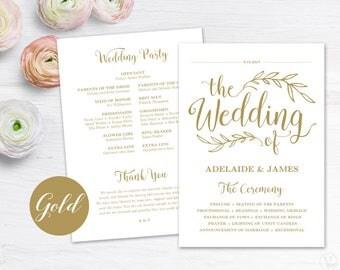 Gold Wedding Program Template, Printable Wedding Programs, DIY Wedding Programs, Vintage Wedding, VW01GOLD