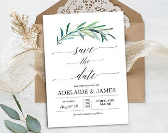 Greenery Save the Date Template, Printable Save the Date Card, Wedding Save the Date, Editable Text, 5x7, Eucalyptus