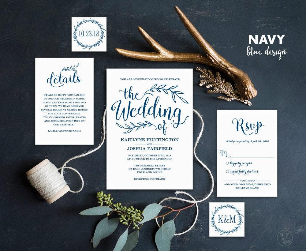 One Page Wedding Invitations: Navy Blue Wedding Invitation Printable Wedding Invitations