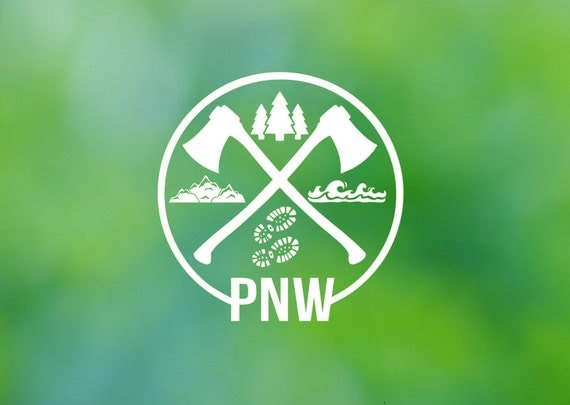 PNW  Hiking Camping Icons  Pacific Northwest Vinyl Decal - Car Decal - Car Sticker - Laptop Decal - Laptop Sticker