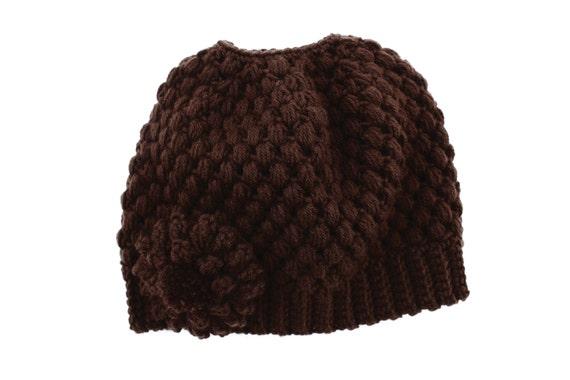 Ready to Ship**Free Shipping/Messy Bun Hat/Brown Crochet Bun Beanie Hat/Messy Bun Beanie/Bun Beanie/Ponytail Hat/Knit Knitted Bun Beanie Hat