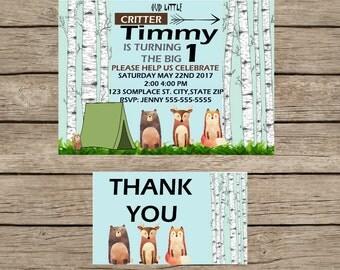 Woodland Animal digital invitation and thank you card
