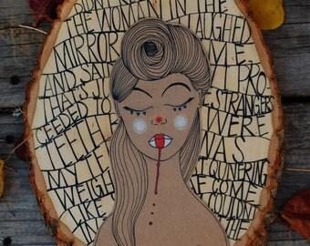 Reclaimed Wood Art / Wood Art / Quirky Illustration / Unique Home Decor / Wooden Wall Art / Clown Art / Wood Slice Art