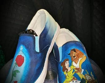 Beauty and the beast Handpainted pumps ladies shoes