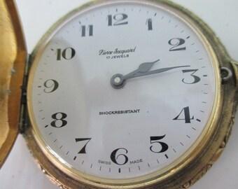 Vintage Swiss Deer Hunting Pocket Watch Gold tone 17 Jewel Pierre Jacquard Swiss Made NEEDS REPAIR