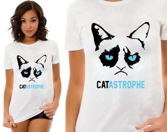 Cat Astrophe, T-shirt stamp, Custom Shirt,  Handmade, Gift For him, Gift For her, Animal lovers, Personal Shirt, Heat Transfer Vinyl