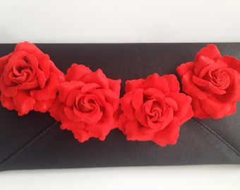 Black and Red  Bridal Clutch with Velvet Roses ~ Wedding Clutch, Bridesmaid Clutch ~ Bouquet Clutch- Evening Bag ~ Mother of the Bride, Prom