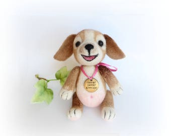 Needle Felted Puppy, Felted Dog, OOAK Art Dolls, Teddy Dog, Wool Felt Animals, Felt Toy, Funny Puppy. Never Give Up, Gift for Friend