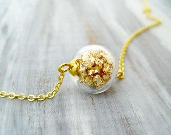 Glass ball filled golden leaf metal necklace globe ball gold leaf filled glass orb gold flakes