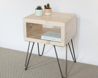 Alice Bedside Table | Side Table | Small Table | Whitewash | Reclaimed Wood  | Hairpin