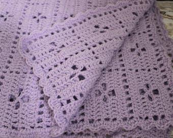 Midwife crochet baby blanket in light purple