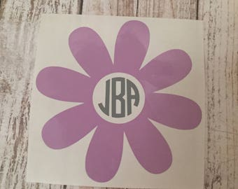 Flower Monogram Decal / personalized decal / monogram decal / flower decal / car decal /