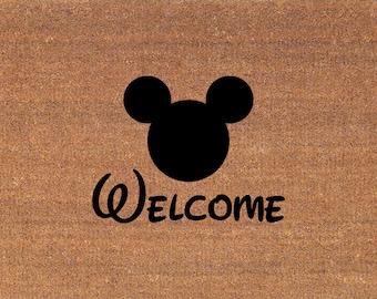 "Disney Font Mickey Mouse Door Mat - Disney Font - Coir Doormat Rug - 2' x 2' 11"" (24 Inches x 35 Inches) - Welcome Mat - Housewarming Gift"