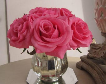 Real touch rose arrangement-real touch pink rose in silver glass vase with Faux Water .