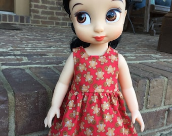 Disney Animator Doll Red Christmas Gingerbread Cookie Dress