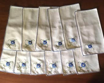 12 Vintage Linen Hand-Embroidered and Applique Blue Flower Napkins in Ivory M831