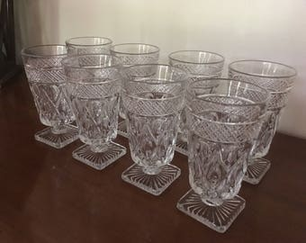 8 Vintage Imperial Glass Cape Cod Water Drinking Glasses with Square Base M842