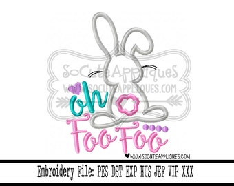 Easter Embroidery design 4x4 5x7 6x10 Oh Foo Foo, Embroidery sayings, socuteappliques, Easter bunny embroidery, Easter applique