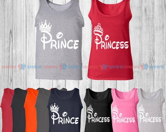 Prince & Princess - Matching Couple Tank Top - His and Her Tank Tops - Love Tank Tops