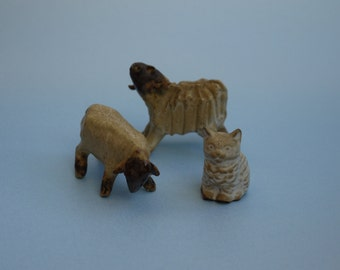 3 vintage Pottery Animals (Treamar Style) although pottery not known