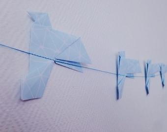 Garland / banner of origami-shaped chickadee/Dove/bird - Decoration paper