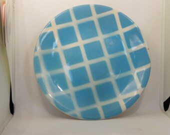 Vintage china - aqua blue check tea plate marked Tams England - replacement