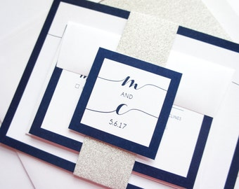 Custom Wedding Invitations - Navy Wedding Invitation Set, Glitter Wedding Invitations, Flowing Script - SAMPLE SET