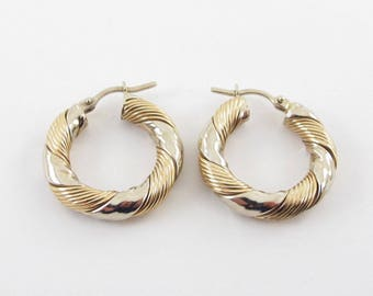 Hoop Earrings 14K Yellow And White Gold 5 grams