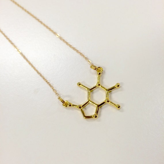 """Gold or Silver coloured caffeine molecule necklace on 17"""" chain"""