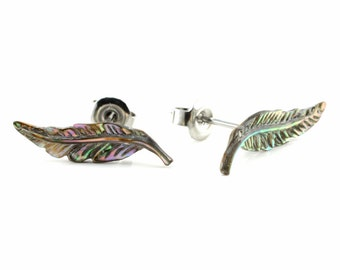 "Hand Carved- ""Feather"" - Abalone Stud Earring - Urban Star Original"