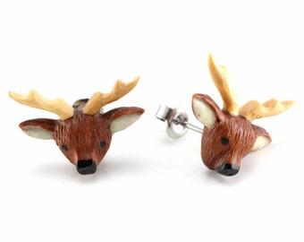 "Hand Carved- ""Deer Moji"" - Sabo Wood with Ebony, Crocodile Wood with Bone Inlay Stud Earring - Zoo Moji"