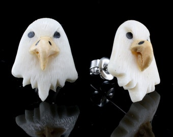 "Hand Carved- ""Bald Eagle Moji"" - Bone with Crocodile and Ebony Wood Inlay Stud Earring - Zoo Moji"