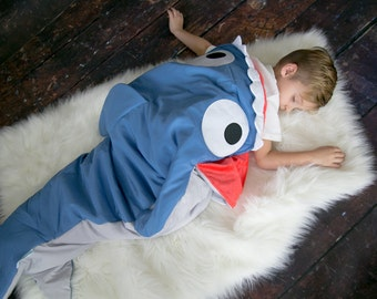 Shark Blanket (Ages 3 - 12) Sleeping Bag Sack Nap Mat with Pocket & Fleece Lining Christmas Kids ...