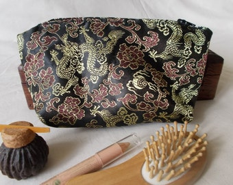 Pencil case/toiletry bag black Chinese brocade (trapezium-shaped with dragons/peonies)