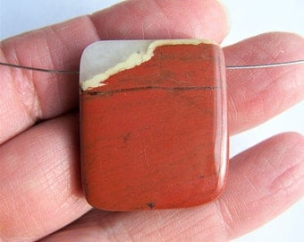Red River Jasper pendant bead 29x26mm side drilled