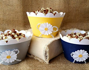 Daisy Cupcake Wrappers, Wedding Cupcakes, Yellow Cupcake Wrappers, Gray Cupcake Wrappers, Navy Wrappers, Baby Shower Cupcakes, Daisy Liners