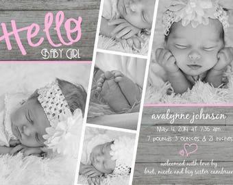 7x5 Hello Baby Girl Film Strip Card-Customized