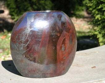 Raku Deep Maroon and Dark Green tints Pottery Flower Vase - Raku Ceramic Vase - Raku Pottery -Kiln ceramics