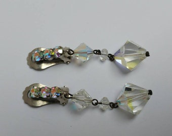 Vintage aurora borealis earrings, clips, rhinestone, old Hollywood glamour
