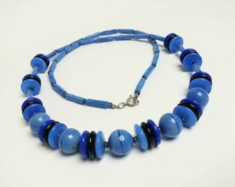 Vintage blue glass necklace