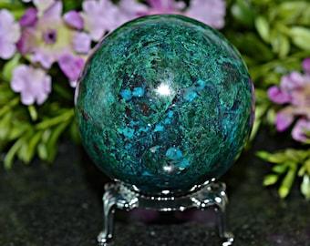 Amazing Chrysocolla Sphere, Chrysocolla Sphere, 53 MM Natural Chrysocolla Sphere, Chrysocolla Sphere
