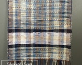 Handwoven Soft Blue Stripped Rag Throw Rug