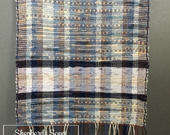 Handwoven Soft Blue Stripped Rag Throw Rug